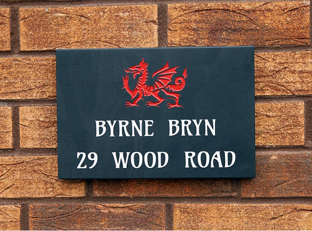 Welsh Slate House Sign - 200mm x 300mm x 20mm
